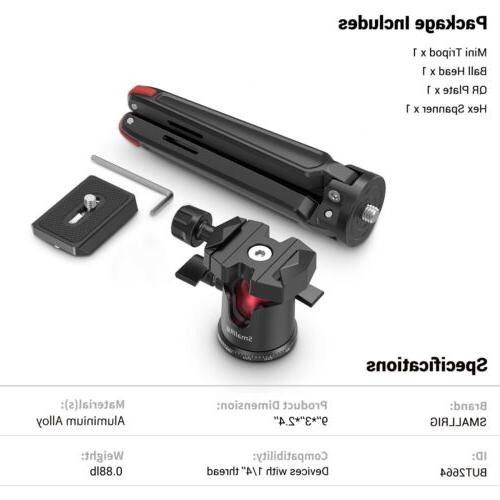 SmallRig Tabletop Tripod with Head for DSLR/Action