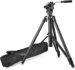 Professional Heavy Duty Tripod Video Camera W/ Fluid Pan Hea